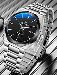 cheap -SWISH Men's Steel Band Watches Quartz Modern Style Stylish Casual Water Resistant / Waterproof Analog Black / Silver Black / Stainless Steel / Calendar / date / day