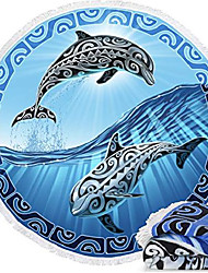 """cheap -microfiber round large plush beach towel blanket, 60"""" d with fringe & #40;tribal dolphins& #41;"""