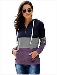 cheap -Women's Pullover Hoodie Sweatshirt Color Block Casual Basic Hoodies Sweatshirts  Black Purple Blushing Pink
