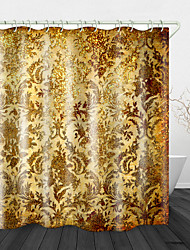 cheap -Noble Golden Flowers Digital Print Waterproof Fabric Shower Curtain For Bathroom Home Decor Covered Bathtub Curtains Liner Includes With Hooks