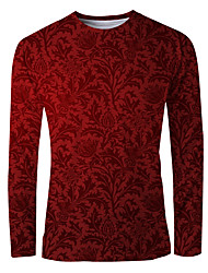 cheap -Men's T shirt 3D Print Graphic Long Sleeve Daily Tops Basic Elegant Red