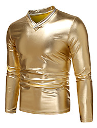 cheap -Men's T shirt non-printing Solid Colored Color Block Patchwork Long Sleeve Party Tops Rock Streetwear Gold Silver