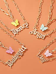 cheap -Women's Pendant Necklace Necklace Double Layered Number Letter Butterfly Elegant Romantic Korean Sweet Acrylic Alloy Blue Yellow Blushing Pink Red Gold 45 cm Necklace Jewelry For Party Evening Gift