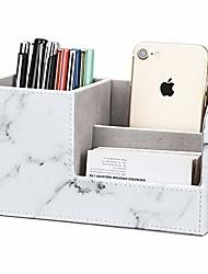 cheap -Pu Leather Desk Organizer Pen Pencil Holder Business Name Cards Remote Control Holder