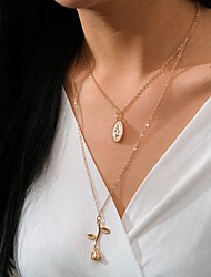 cheap -Women's Pendant Necklace Necklace Stacking Stackable Roses Rustic Vintage Trendy Ethnic Alloy Gold 56 cm Necklace Jewelry 1pc For Gift Street Birthday Party Beach Festival / Layered Necklace
