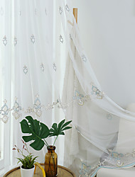 cheap -Two Panel European Style Embroidered Gauze Curtain Living Room Bedroom Dining Room Translucent Tulle
