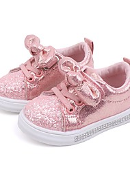 cheap -Girls' Sneakers Comfort PU Sequins Little Kids(4-7ys) Big Kids(7years +) Daily Walking Shoes Bowknot Pink Gold Silver Fall Spring