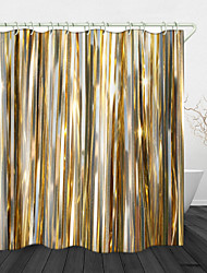 cheap -Golden Ribbon Digital Print Waterproof Fabric Shower Curtain for Bathroom Home Decor Covered Bathtub Curtains Liner Includes with Hooks