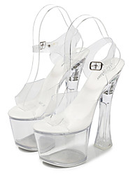 cheap -Women's Dance Shoes Pole Dancing Shoes Heel Glitter Thick Heel White Red Blue Buckle