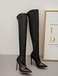 Недорогие -Жен. Ботинки На шпильке Заостренный носок На каждый день Классический Повседневные Однотонный Полиуретан Сапоги выше колена Для прогулок Черный