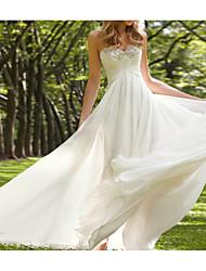 cheap -A-Line Wedding Dresses Sweetheart Neckline Court Train Chiffon Sleeveless Beach with Beading 2021