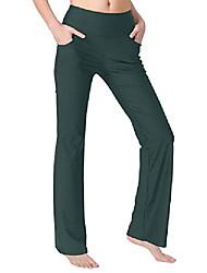 رخيصةأون -السراويل اليوغا bootcut للنساء مع جيوب عالية مخصر تجريب تشغيل السراويل البطن التحكم السراويل الطويلة bootleg العمل& # 40 ؛ زيتون أخضر صغير& # 41 ؛