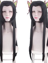 cheap -Cosplay Costume Wig Synthetic Wig Kochou Kanae Demon Slayer Natural Straight Middle Part Wig Long Black Synthetic Hair 30 inch Women's Anime Cosplay Party Black