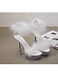 cheap -Women's Dance Shoes Pole Dancing Shoes Heel Slim High Heel White Black Red Hook&loop