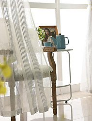 cheap -2 Panels Sheer Curtains for Living Room, Strip Embroidery Sheer Curtains for Bedroom Embroidery Window Curtains