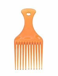 cheap -portable afro pick fork plastic curly hair comb long teeth hairdressing brown