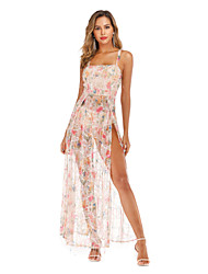 cheap -Women's A-Line Dress Maxi long Dress - Sleeveless Solid Color Sequins Embroidered Tassel Fringe Summer Strapless Sexy Party Club 2020 Beige S M L XL