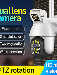 cheap -1080P IP Camera Outdoor Dual Lens PTZ Wifi Camera Bidirectional Audio 12 Led Infrared Night Vision Automatic Tracking Home Security Monitoring Camera