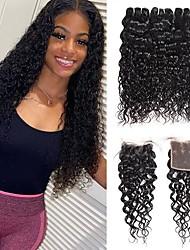 cheap -4 Bundles Hair Weaves Brazilian Hair Water Wave Human Hair Extensions Human Hair Hair Weft with Closure 8-28 inch Natural Women Natural Youth