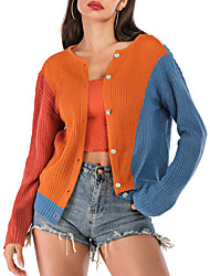 cheap -Women's Color Block Cardigan Cotton Long Sleeve Loose Sweater Cardigans Round Neck Fall Orange