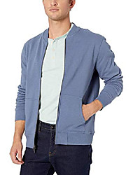 cheap -amazon brand - men's fleece bomber, denim medium tall