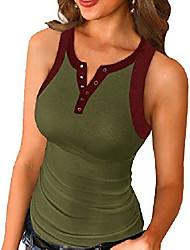 cheap -womens scoop neck henley tank tops low cut solid sexy summer sleeveless button down shirts & #40;z army green, large& #41;