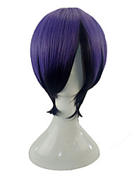 cheap -Tokyo Ghoul Kirishima Touka Cosplay Wigs Unisex Side Part 12 inch Heat Resistant Fiber Straight Dark Gray Purple Teen Adults' Anime Wig