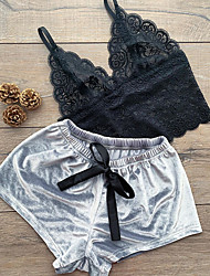 cheap -Women's Pajamas Sets Home Christmas Party Daily Backless Mesh Lace Jacquard Embroidered Spandex Satin Casual Soft Strap Top Shorts Spring Summer Deep V Buckle / Bow / Super Sexy / Bow