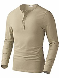 cheap -but& #39;s 100% cotton slim fit henleys buttoned long sleeve t-shirts beige large