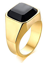 cheap -gold plated stainless steel signet rings with black agate for men,pinky ring band for men,gemstone ring for men,size 10