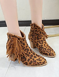 cheap -Women's Boots Pumps Round Toe Casual Basic Daily Tassel Leopard Solid Colored Suede Booties / Ankle Boots Walking Shoes Leopard / Dark Brown / Black