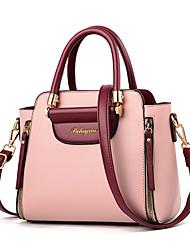 cheap -Women's Bags PU Leather Satchel Top Handle Bag Zipper Handbags Daily Date Wine Black Blue Red