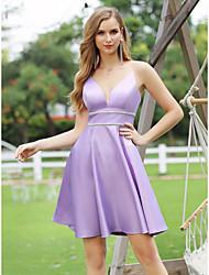 cheap -A-Line Hot Sexy Homecoming Cocktail Party Dress V Neck Sleeveless Short / Mini Satin with Sleek Sash / Ribbon 2020