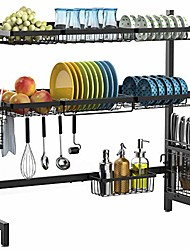 cheap -over sink dish drying rack,  large 201 stainless steel over sink dish rack with utensil holder hooks space save for kitchen counter non-slip