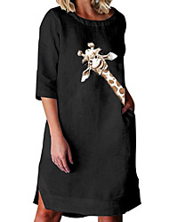 cheap -Women's A-Line Dress Knee Length Dress - 3/4 Length Sleeve Animal Print Summer Casual Loose 2020 White Black S M L XL XXL 3XL 4XL 5XL