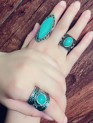cheap -Ring Vintage Style Turquoise Stone Alloy Precious Simple Luxury Vintage 3pcs Adjustable 8 / Women's / Open Cuff Ring / Adjustable Ring