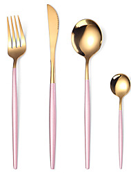cheap -4Pcs/set Cutlery Set Stainless Steel Utensils Service Set for 4 Mirror Finish Shining Golden Using Part and Smooth Handle