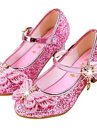 cheap -Girls' Heels Moccasin / Flower Girl Shoes / Halloween Rubber / PU Block Heel Sandals Little Kids(4-7ys) / Big Kids(7years +) Walking Shoes Rhinestone / Buckle / Sequin Pink / Gold / Dark Blue Spring