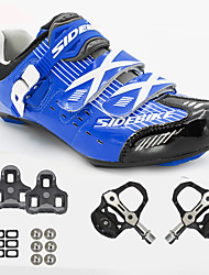 cheap -Unisex Cycling Shoes With Pedals & Cleats Sneakers Road Bike Shoes Nylon and Carbon Fiber Cycling / Bike Cushioning Breathable Mesh PU(Polyurethane) Blue