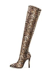 Недорогие -Жен. Ботинки На шпильке Заостренный носок Секси Повседневные Леопард Нубук Сапоги выше колена Коричневый
