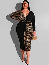 cheap -Women's Shift Dress Midi Dress - Long Sleeve Leopard Patchwork Fall V Neck Plus Size Sexy 2020 Blue Red Yellow XL XXL 3XL 4XL 5XL
