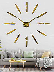 cheap -diy wall clock, 3d mirror stickers large frameless wall clock modern design watches hours for home living room bedroom office decoration gifts-gold