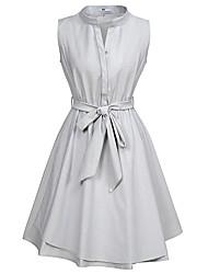 cheap -Women's A-Line Dress Knee Length Dress - Sleeveless Striped Patchwork Summer Casual Cotton Slim 2020 Gray S M L