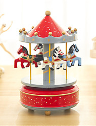 cheap -Music Box Carousel Music Box Unique Wood Women's Unisex Girls' Kid's Adults Graduation Gifts Toy Gift