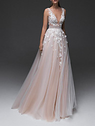 cheap -A-Line Wedding Dresses V Neck Floor Length Lace Tulle Sleeveless Country with Appliques 2021