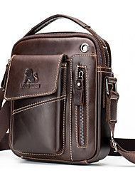 cheap -Men's Bags Nappa Leather Shoulder Messenger Bag Crossbody Bag Zipper Daily Office & Career Messenger Bag Light Coffee Dark Brown Black