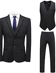 cheap -Tuxedos Tailored Fit / Standard Fit Notch Single Breasted One-button Cotton Blend / Cotton / Polyester Damask / Stripes
