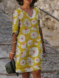 cheap -Women's Shift Dress Knee Length Dress Blue Purple Yellow Red Light Blue Half Sleeve Print Print Summer V Neck Hot Casual Loose 2021 S M L XL XXL 3XL 4XL 5XL