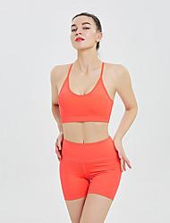 povoljno -Žene 2pcs Trenirka Joga odijelo Bez žice Moda purpurna boja Bijela Svijetlo zelena Yoga Fitness Trening u teretani Kratke hlače Sportski grudnjaci Sportska odijela Sport Odjeća za rekreaciju Kontrola