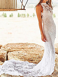 cheap -Sheath / Column Wedding Dresses High Neck Court Train Lace Sleeveless Sexy Backless with Appliques 2021